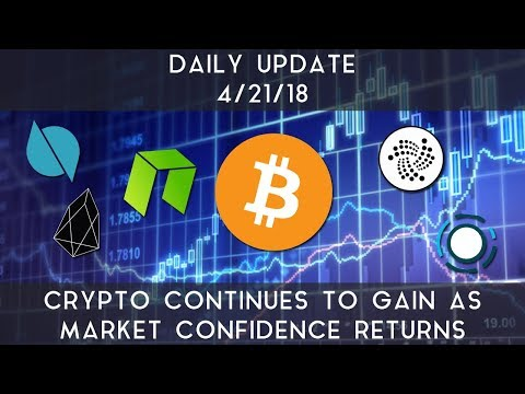 Daily Update (4/21/2018) | Cryptocurrencies continue higher as markets gain confidence