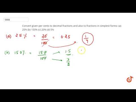 simplest form in hindi  Convert given per cents to decimal fractions and also to ...