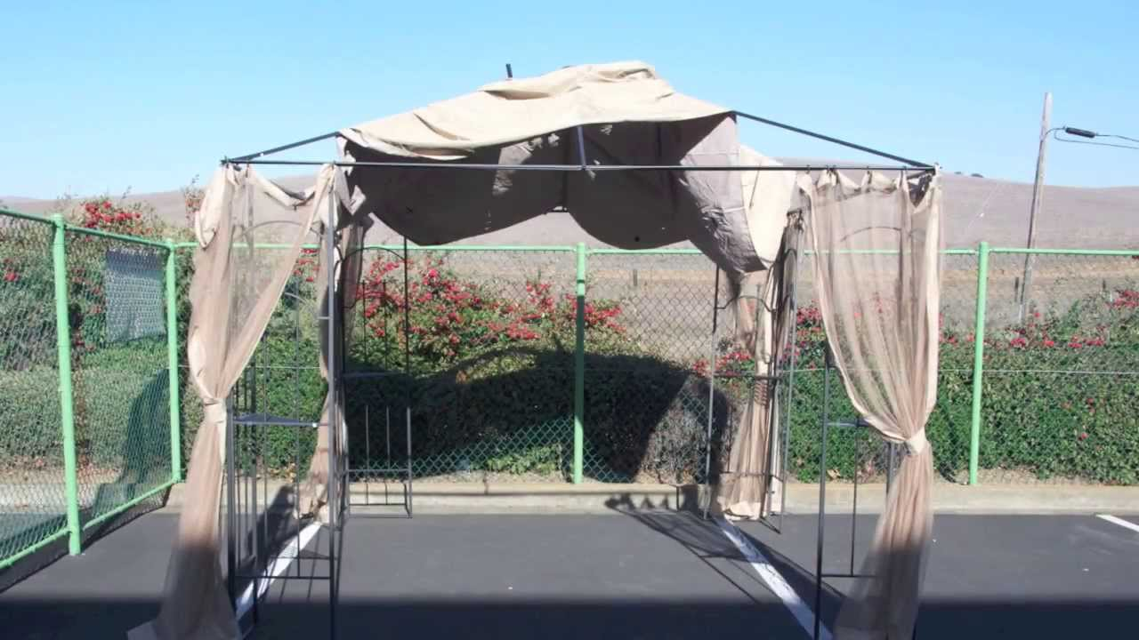 How to install a Home Depot Arrow Gazebo Replacement Canopy - YouTube