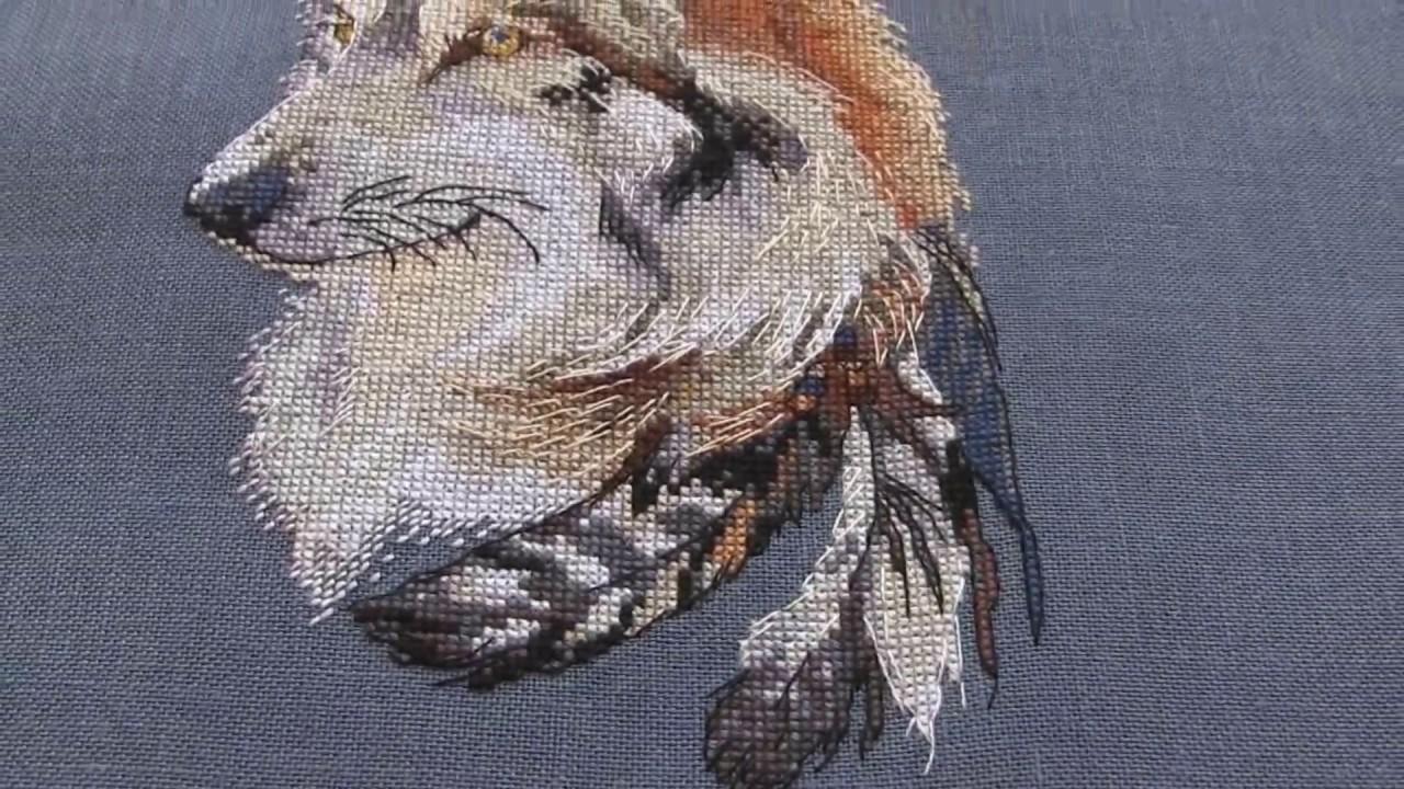 Готовая работа вышивка волки