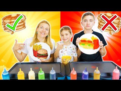 PANCAKE ART CHALLENGE 4 !!! - Mère VS Fils : Hamburger frites, Glace, Donut...