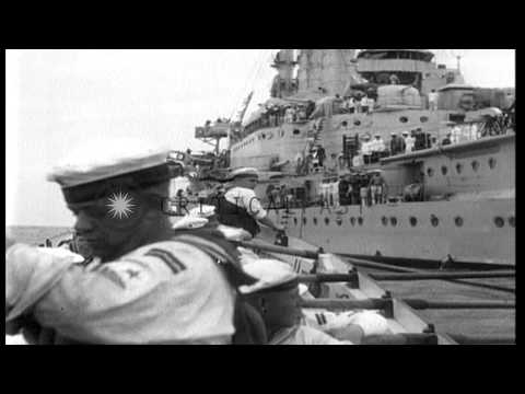 German sailors row boats and work on ships underway in the Mediterranean sea HD Stock Footage