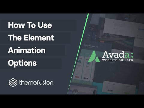 How To Use The Element Animation Options Video