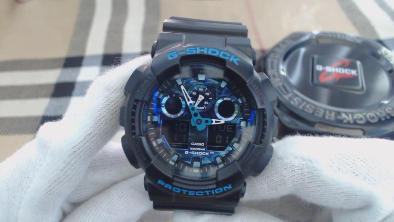 Casio G Shock Black And Blue Ana Digi Sports Watch Ga100cb 1a