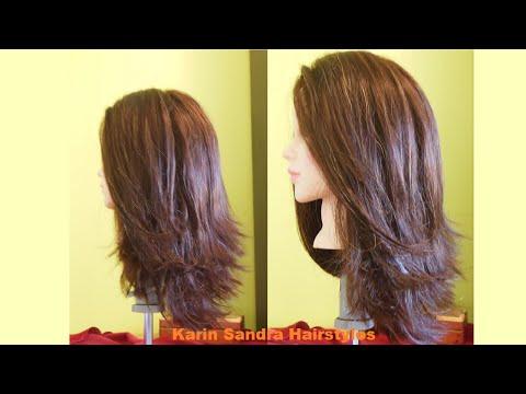 Long Bob haircut tutorial step by step   Long layered haircut   Long haircut with graduation