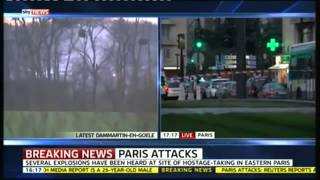 Multiple EXPLOSIONS as Police STORM Hostage Site at Paris #Dammartin Grocery Store