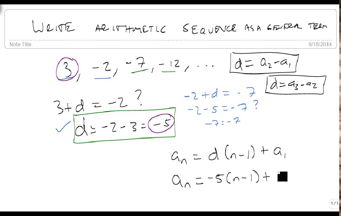 write an arithmetic sequence in general form