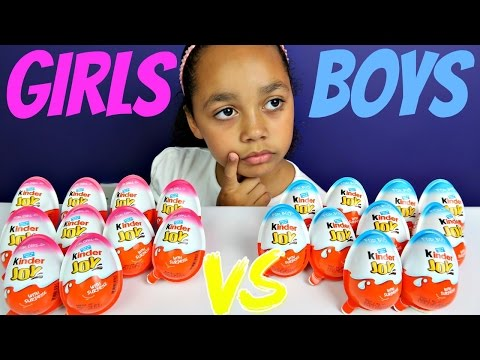 20 Kinder Joy Girls vs Boys - Kinder Surprise Chocolate Eggs Opening