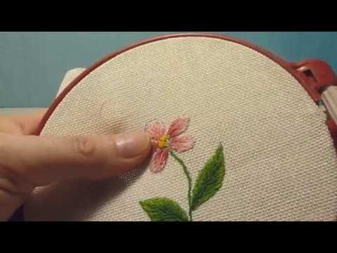 """Вышивка гладью для начинающих """"Цветок"""" satin stitch embroidery for beginners Flower"""