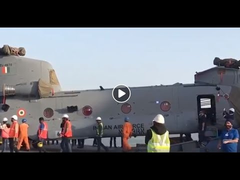 Gujarat: The first batch of four Chinook helicopters for the IAF arrived at the Mundra airport- Tv9