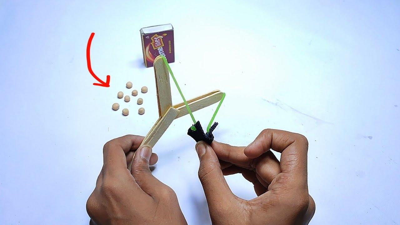 DIY Simple slingshot from popsicle stick |