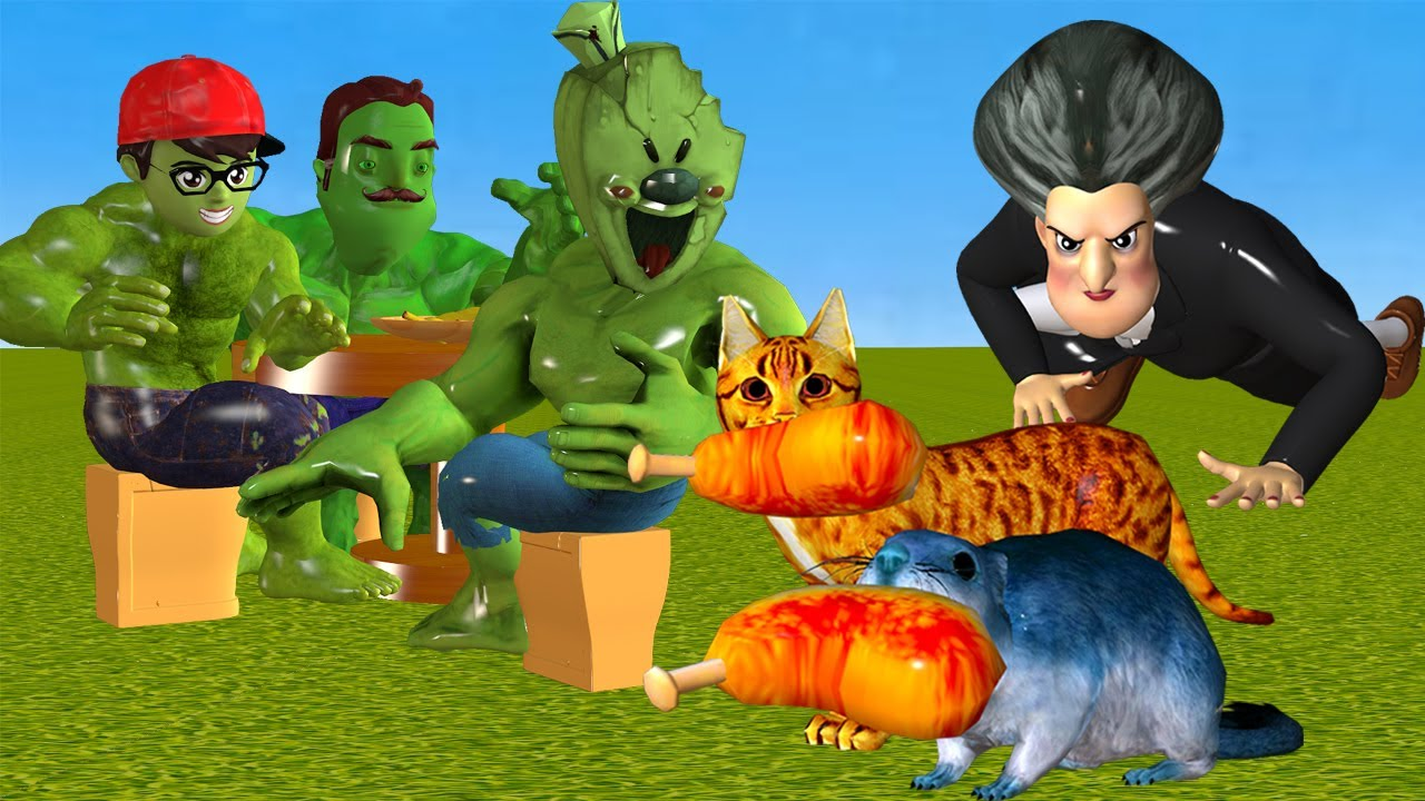 Scary Teacher 3D Hamster and Cat Troll Miss T Snacks with Nick Hulk and Hello Neighbor Mods Hulk