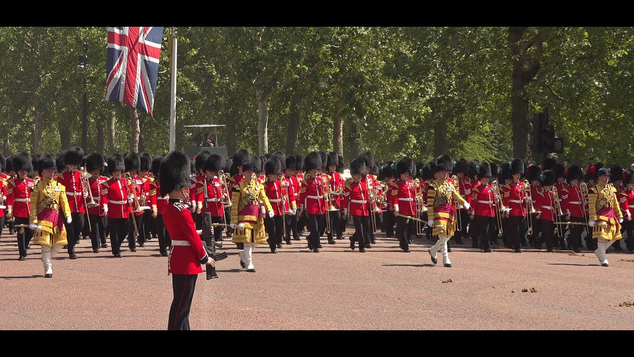 Guards march along The Mall - Trooping the Colour 2019