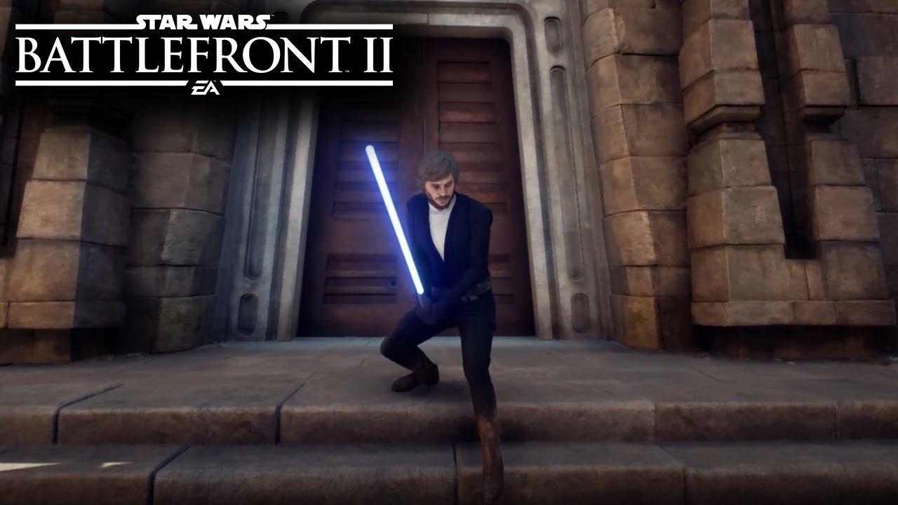 Star Wars Battlefront 2 LUKE CRAIT SKIN GAMEPLAY MODS The Last Jedi Skin YouTube