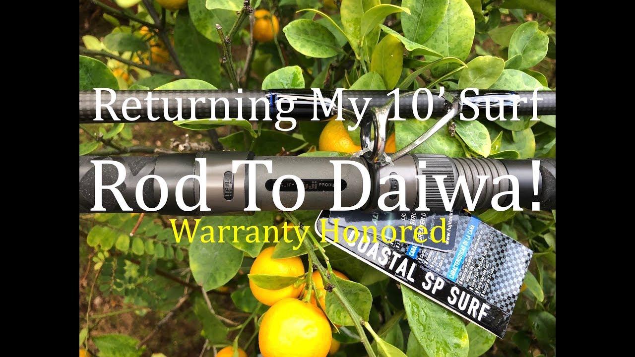 Returning my 10 39 surf rod to daiwa youtube for Charley s fishing supply