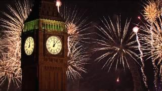 2015 New Years Day Celebrations Fireworks & Big Ben, London UK