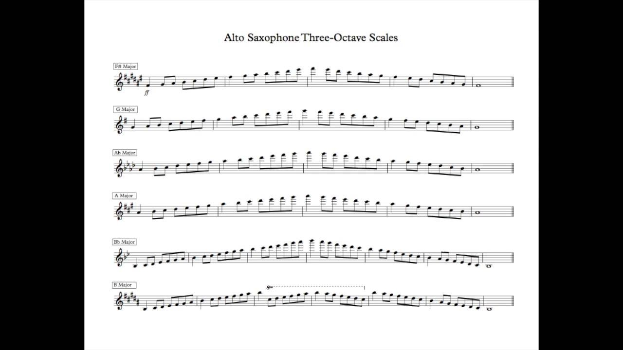 three-octave major scales for alto saxophone at 100