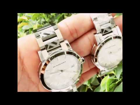 * KhiBURBERRY Silver Check Stamped Dial Stainlkess Steel Ladies Watch BU9144 Bu9037