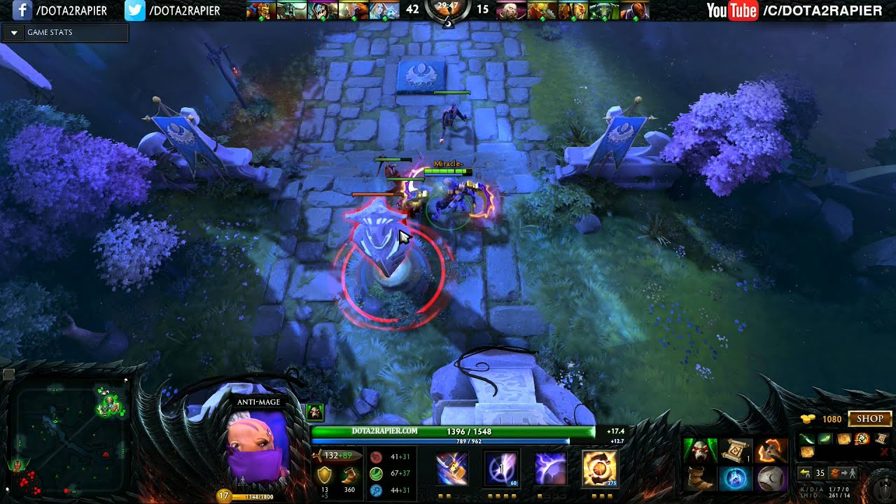 miracle dota 2 anti mage never give up youtube
