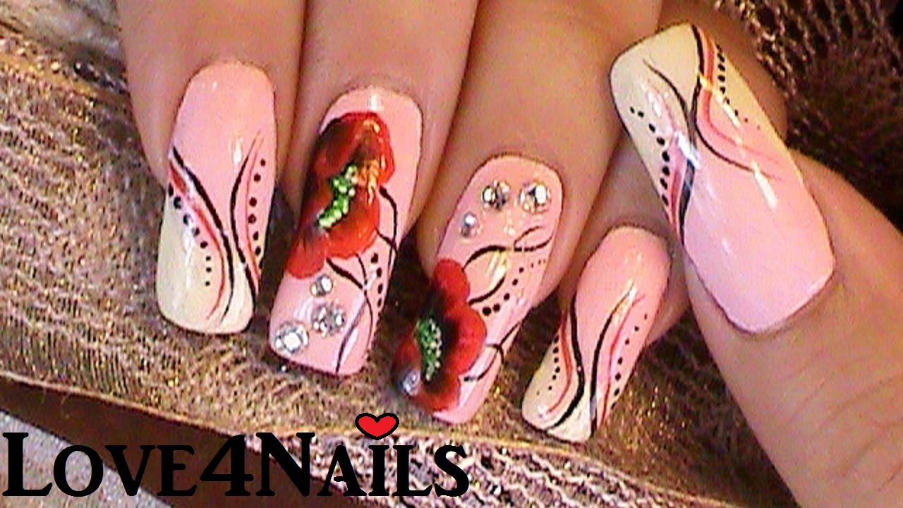Oriental Bliss Nail Art Design Red Poppies - YouTube