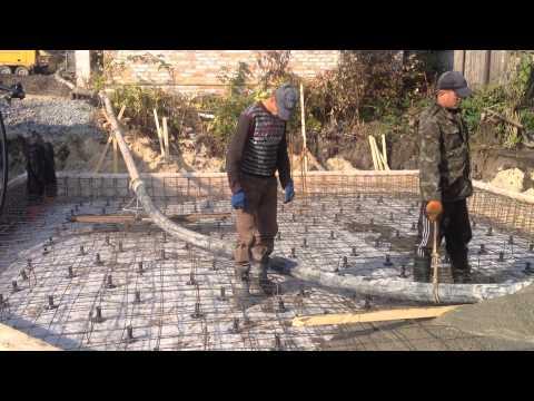 Укладка бетона с использованием глубинного вибратора г. Обухов