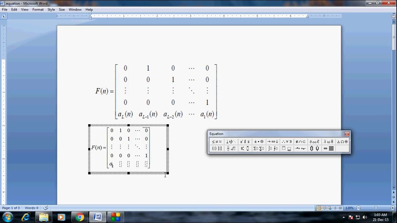 How To Type Larger Size Matrix 5 By 5 In Ms Word Youtube