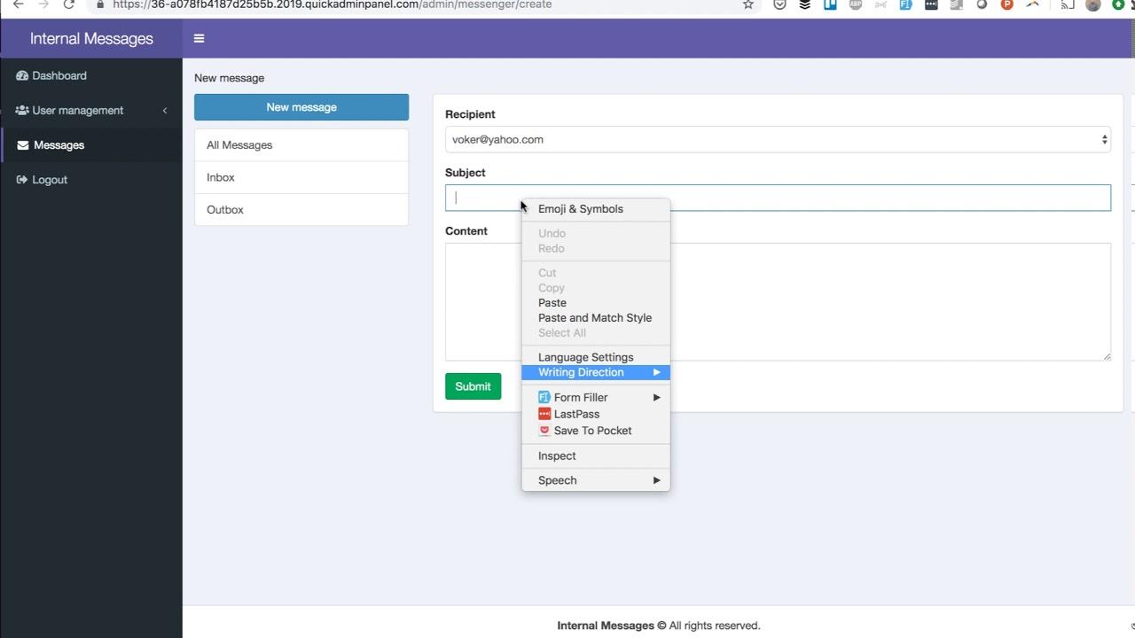QuickAdminPanel Modules: Internal Messages
