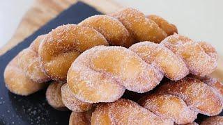 (손반죽)how to make twisted doughnuts 꿀맛 꽈배기 완전 쉽게 만들기