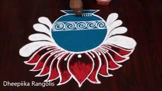 Bhogi kunda muggulu for sankranthi ll pongal pot kolam ll latest pongal rangoli design 2019