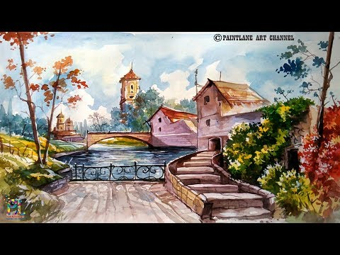 Landscape With WATER COLOR | Water color painting | Speed Painting