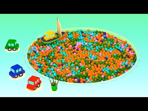Ball Pool FISHING for CARS - Cartoon Cars Videos for Kids.Cartoons for Children.Kids Cars Cartoons