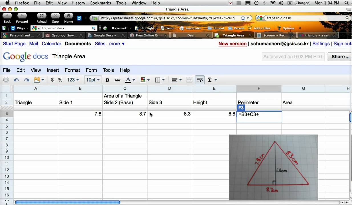 Area Of Triangle Using A Spreadsheet