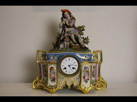Фарфоровые Французские Каминные Часы 1890 года