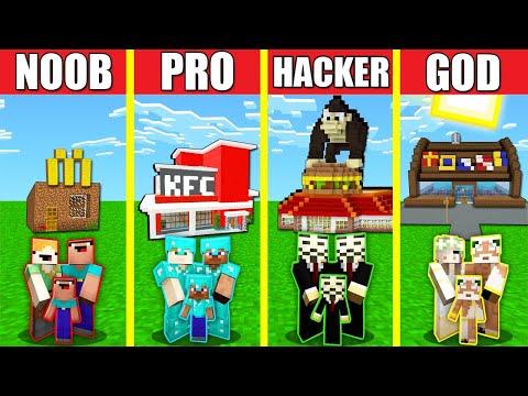 Minecraft Battle: FAST FOOD RESTAURANT HOUSE BUILD CHALLENGE NOOB vs PRO vs HACKER vs GOD Animation
