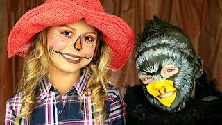 Thanksgiving Scarecrow and Crow Costumes and Makeup