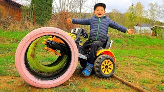 The wheel fell off on Tractor for Kids! Liam to the rescue on power wheels Colors Colored Tire