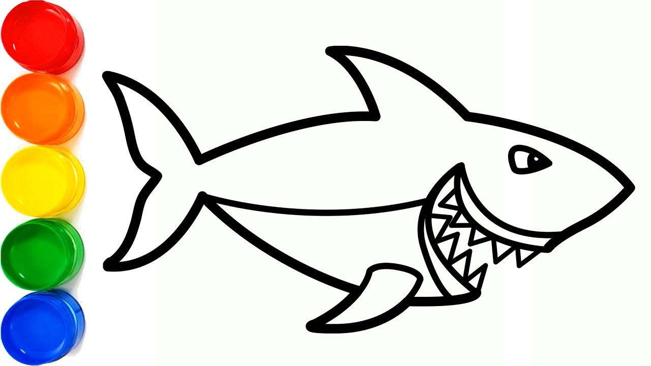 Learn colors with shark coloring and drawing for kids ...