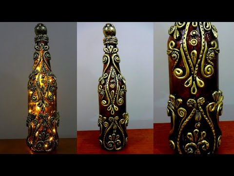 DIY  Bottle Craft / Glass Bottle Lamp /Bottle Art