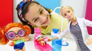 L.O.L bebek dişçi Barbie'ye gidiyor. Oyuncak bebek videosu. Kız oyunu izle!
