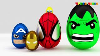 Учим размеры с киндер сюрпризами. Супергерои  Халк Человек паук Спанчбоб  Развивающий мультик