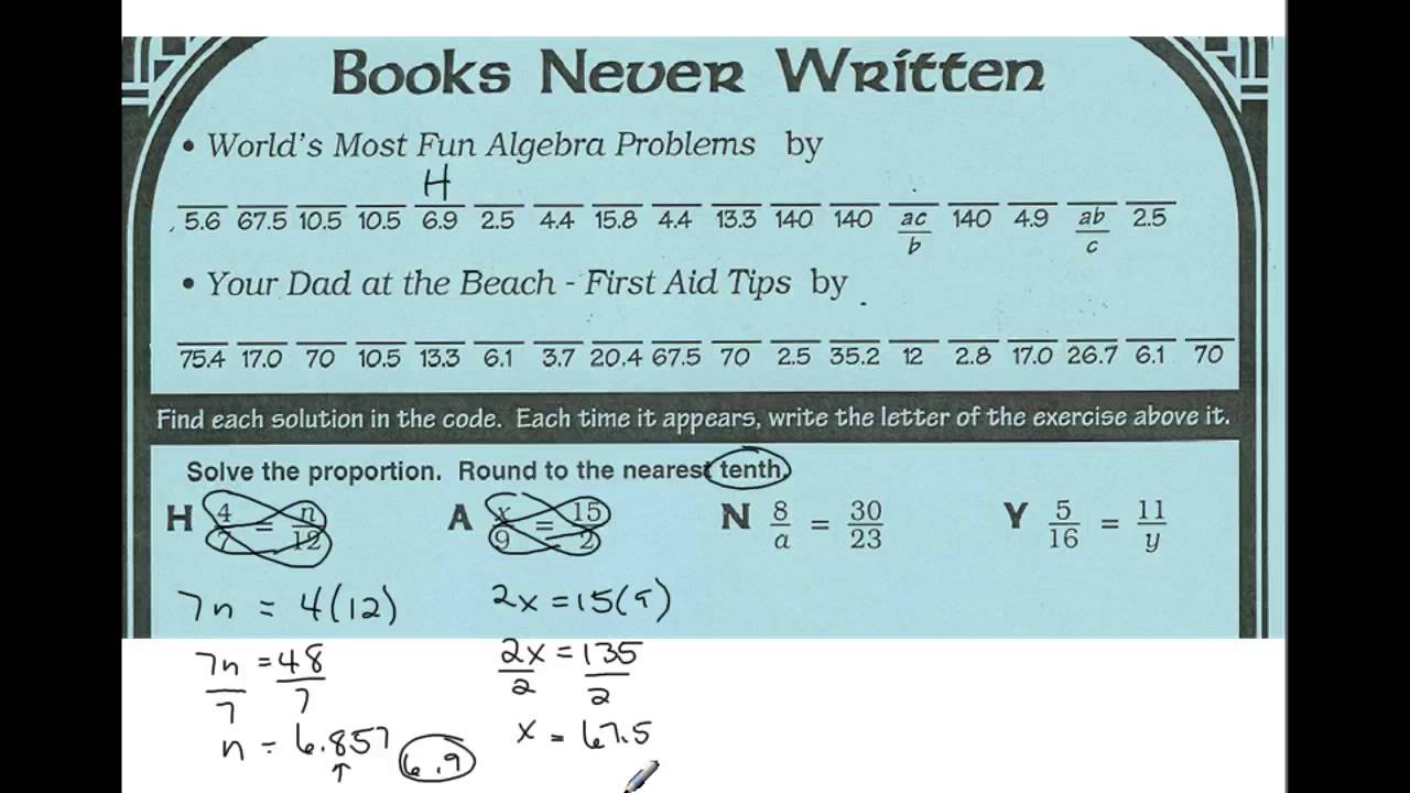 Books Never Written Math Worksheet Answers Page Pizzazz ...