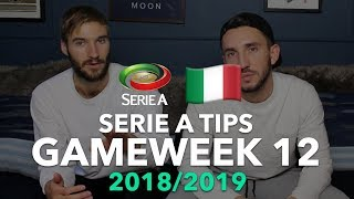 Serie A Tips - Gameweek 12 - 2018/2019