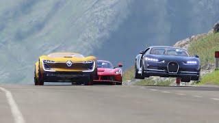 Renault Trezor vs Bugatti Chiron vs Ferrari LaFerrari at Highlands