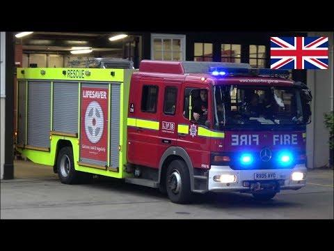 Fire RESCUE truck responding + hi-lo siren - London Fire Brigade