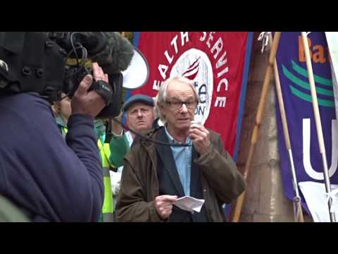 Ken Loach addresses a Save the NHS march