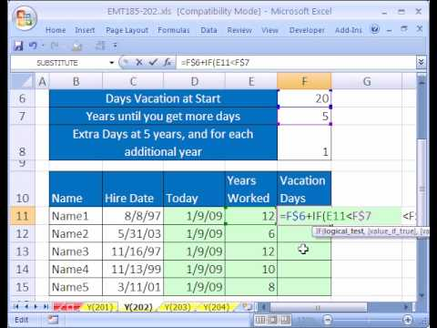 Excel Magic Trick #202: Calculate Vacation Days