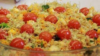 """Овощная запеканка из брокколи и цветной капусты """"Гавайские острова"""" как приготовить"""
