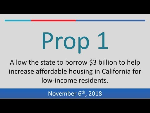 Proposition 1 (2018):  Authorize Bonds for Low-Income Housing