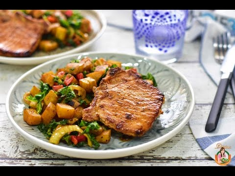 Delishar - Pork Chop On Sweet Potato Kale Hash