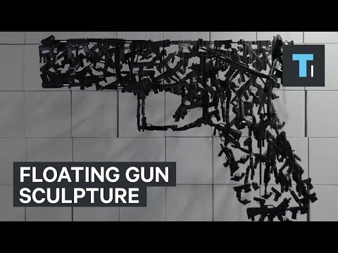 Floating gun sculpture